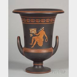 Wedgwood Encaustic Decorated Black Basalt Calyx Krater Vase