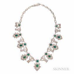 Emerald and Diamond Fringe Necklace
