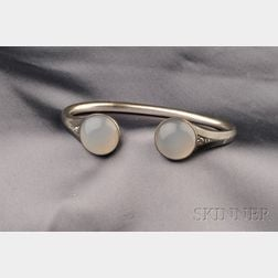 Antique Silver, Moonstone and Diamond Cuff Bracelet
