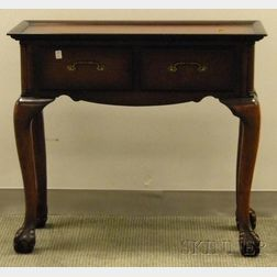 Chippendale-style Carved Mahogany Tray-top Two-Drawer Side Table with   Ball and Claw Feet