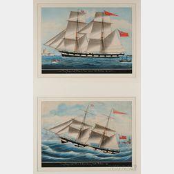 Attributed to Gaetano DEsposito (Italian, 1858-1911) Lot of Two Works: Brig Niagara Captn William F. Hann Enterin[g] Malta Harboeu...