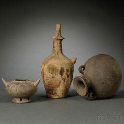 Three Unglazed Pottery Items