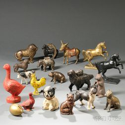 Eighteen Animal-form Cast Iron Painted Still Banks