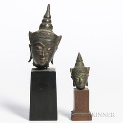 Two Ayutthaya-style Bronze Buddha Heads