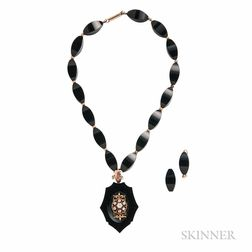 Victorian Onyx and Diamond Pendant/Necklace