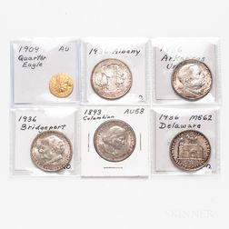 Five Commemorative Half Dollars and a 1909 $2.50 Indian Head Gold Coin