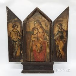 Continental Paint-decorated Wood Triptych of a Religious Scene