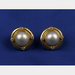 18kt Gold, Mabe Pearl and Diamond Earrings