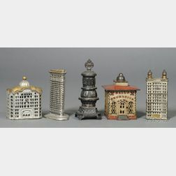 Four Cast Iron Architectural Banks and Franklin Stove Bank