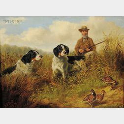 Arthur Fitzwilliam Tait (American, 1819-1905)      Hunters with Spaniels and Quail/ A View of Long Lake, Hamilton, New York