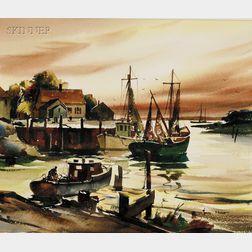John Cuthbert Hare (American, 1908-1978)      Harbor View at Dusk