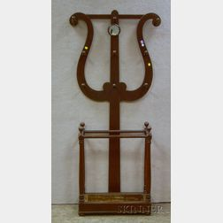 Victorian Gothic Revival Brown-stained Walnut Lyre-back Mirrored Hall Tree