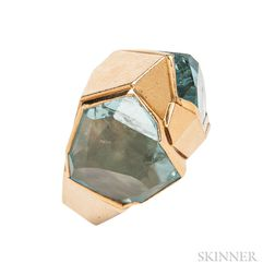 18kt Gold and Aquamarine Ring, De Vroomen