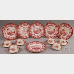 Set of Six Wedgwood Gilt, Red, and White Harvard University Porcelain Dinner Plates with Six Cups and Saucers.