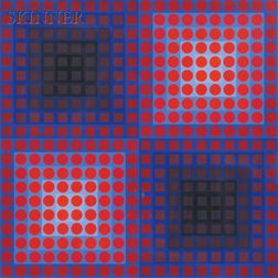 Victor Vasarely (Hungarian/French, 1906-1997)      Two Images from the PERMUTATIONS   Series