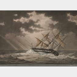 Attributed to Nicholas S. (Nicola) Cammillieri (France and Malta, Italy, 1762-1860)      Ship USS Savanah   in a Gale.