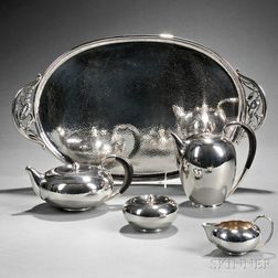 Four-piece Georg Jensen Sterling Silver Tea and Coffee Service with Associated Tray