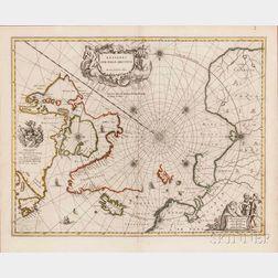 Arctic Circle, North Pole. Johannes Blaeu (1596-1673) Regiones Sub Polo Arctico.
