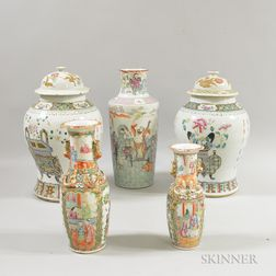 Five Famille Rose Porcelain Vessels