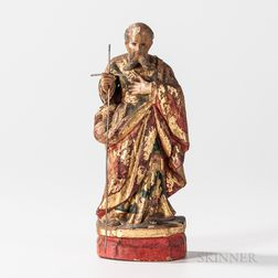 Polychrome and Gilded Carved Wood Figure of Saint