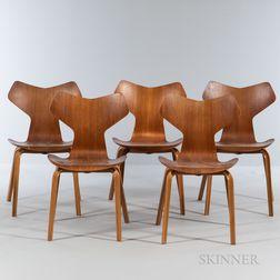Five Arne Jacobsen (Danish, 1902-1971) for Fritz Hansen Grand Prix Chairs