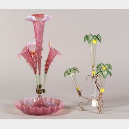 Two Colored Blown Glass Epergnes