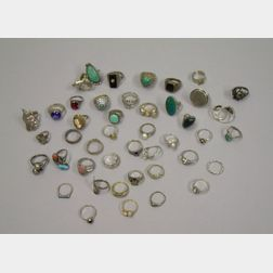 Approximately Forty-five Sterling and Other Silver Rings
