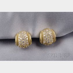 18kt Gold and Diamond Earclips, Judith Ripka