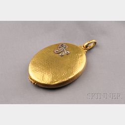 Antique 18kt Gold and Diamond Locket, France