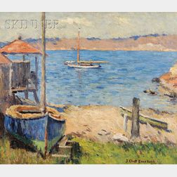 Joseph Eliot Enneking (American, 1881-1942)      Rockport Shore with Sailboats