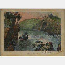 Framed Currier & Ives Hand-colored Lithograph Split Rock. St. John River N.B.