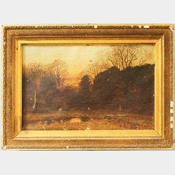 John Joseph Enneking (American, 1841-1916)      Autumn Landscape Beneath a Crescent Moon.