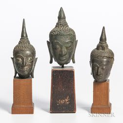 Three Bronze Buddha Heads