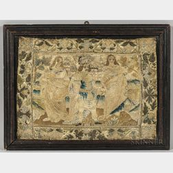 Early Silk Figural Needlework Picture