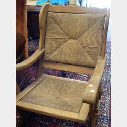 Scandinavian Modern Hardwood Trestle-foot Morris Chair with Keyed Tenons.