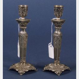 Pair of Continental Neoclassical-style .800 Silver Tapersticks