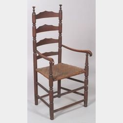 Red-painted Ash Slat-back Armchair