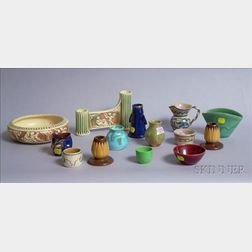 Fourteen Miscellaneous Art Pottery Table Items