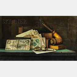 Charles Alfred Meurer  (American, 1865-1955)      Trompe l'Oeil Still Life with Currency, Pipe, and Pistol