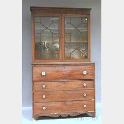 Federal Glazed Mahogany and Mahogany Veneer Butler's Desk/Bookcase.     Estimate $400-600