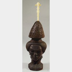 Indonesian Wooden Carving of a Woman's Head