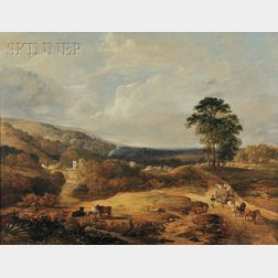 British School, 19th Century      An Extensive Wooded Landscape with Haymakers in a Horse-Drawn Cart