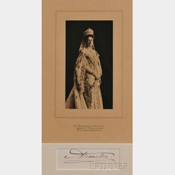 Photogravure of Empress Alexandra Feodorovna and Her Signature