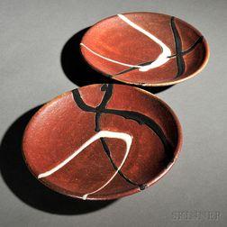 Two Randy Johnston (American, b. 1950) Studio Pottery Plates