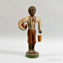 Contemporary Folk Art Carved and Painted Figure of a Man and Pig