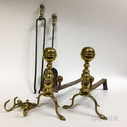 Pair of Brass Belted Ball-top Andirons, a Pair of Jamb Hooks, a Shovel, and a Pair of Tongs.     Estimate $200-300