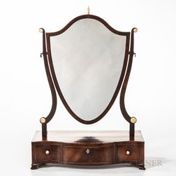 Mahogany Veneer Shield-form Dressing Mirror