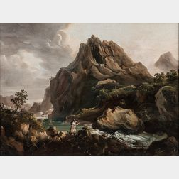 British School, 19th Century      Mountain Landscape with Lovers by a Rushing River
