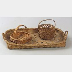 Two Diminutive Woven Splint Baskets and a Woven Splint Tray