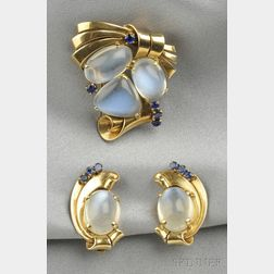 Retro 14kt Gold, Moonstone, and Sapphire Brooch and Earclips, Raymond Yard